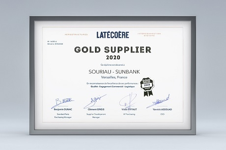 Souriau award Gold Supplier Latécoère